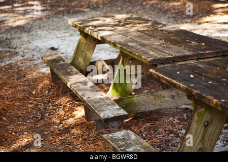 old wooden picnic table on a diagonal angle - Stock Photo