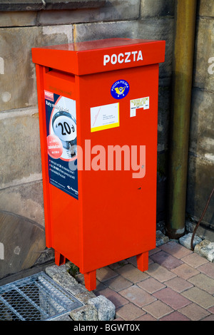 Letter box / mail box outside the Post Office in the Polish town of Gliwice, Upper Silesia, Poland. - Stock Photo