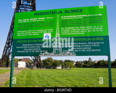 Tourist information sign in front of the Gliwice Radio Tower transmission tower of Gliwice, Upper Silesia, Poland, - Stock Photo