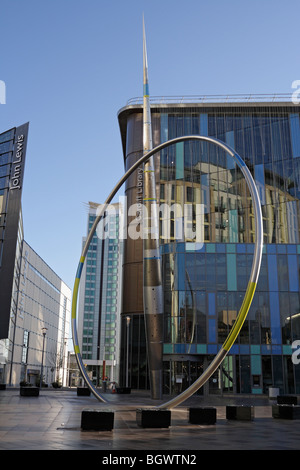 Alliance sculpture by Jean-Bernard Metais, public art structure on the Hayes Cardiff, in front on the new library. - Stock Photo