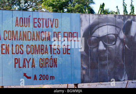 Billboard of Castro victory at Bay of Pigs against USA at Playa Giron in Cuba farm country - Stock Photo