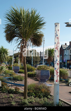 Palm trees and futuristic lamps in the centre of Lytham St Annes Lancashire UK - Stock Photo