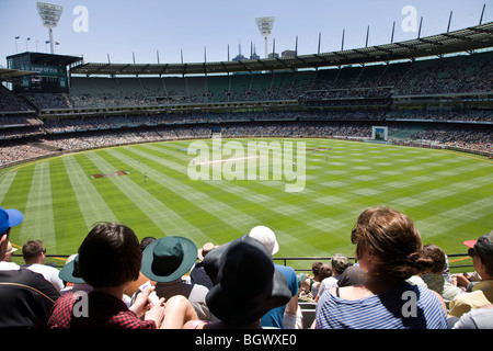 Crowds at Melbourne Cricket Ground, Melbourne, Australia, during the Boxing Day Test Match, between Australia & - Stock Photo