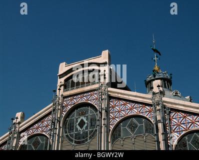 Mercado Central (Central Market). Modernist building from 1914. Valencia. Spain - Stock Photo