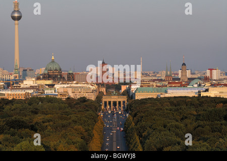 Berlin. Germany. View across the Tiergarten and Strasse des 17 Juni towards the Brandenburg Gate & Mitte. - Stock Photo