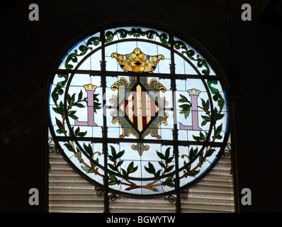 Detail of stained-glass window. Mercado Central (Central Market). Modernist building from 1914. Valencia. Spain - Stock Photo