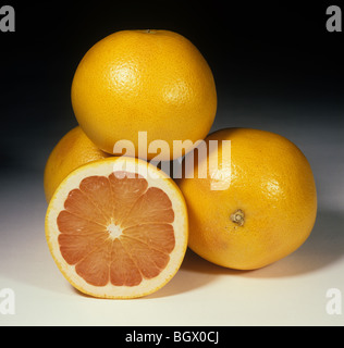 Whole and sectioned pink grapefruit fruit variety Red Blush - Stock Photo