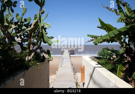 Bridge over the beach in Catembe, Mozambique - Stock Photo