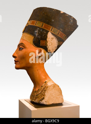 The bust of Queen Nefertiti from Amarna also known as Akhetaten now on display in the Berlin Museum, Germany - Stock Photo