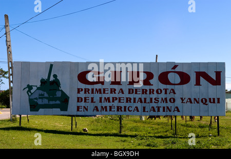 Billboard in Playa Giron Cuba stating victory over USA for only time in North American over the Imperialism of US - Stock Photo