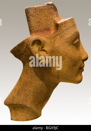 The portrait head of Queen Nefertiti in Sandstone Quartzite on display in the Berlin Museum, Germany - Stock Photo