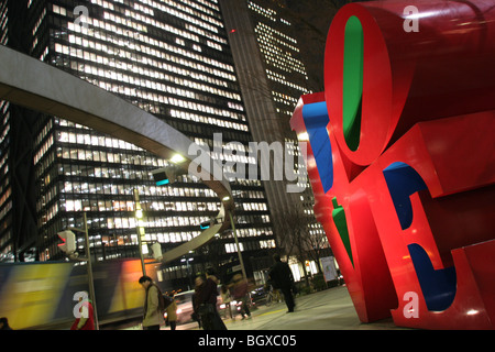 View of 'LOVE' sculpture by American artist Robert Indiana, in the Nishi-Shinjuku district, Tokyo, Japan, 2007 - Stock Photo