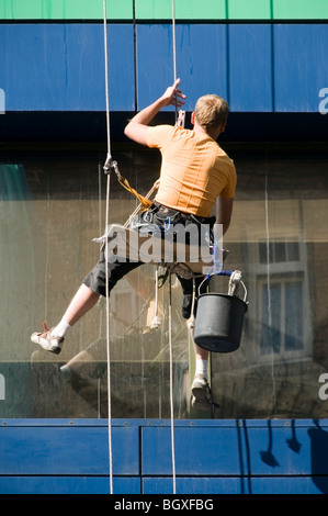 Close-up of one office Window cleaner suspended high up in a seat harness on an Abseiling Rope washing windows, - Stock Photo