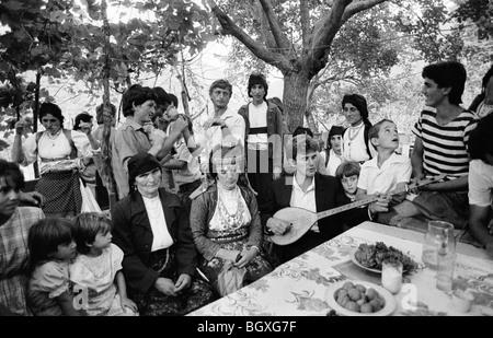 WEDDING CELEBRATIONS, JUBANI, NEAR SHKODRA, ALBANIA, SEP' 91 - Stock Photo