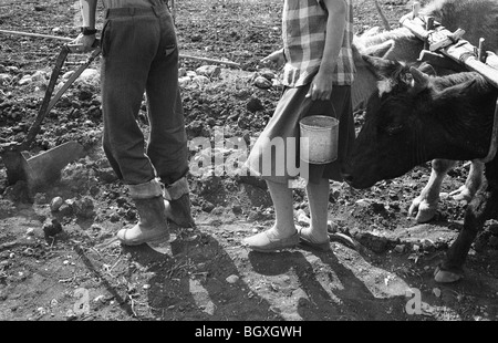 Plowing the fields and sowing seeds, Hani Hot, northern Albania, 1992. - Stock Photo