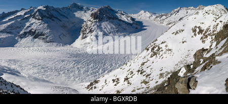 panoramic view of Aletsch glacier from Eggishorn, Fiescheralp,Wallis/Valais Switzerland - Stock Photo