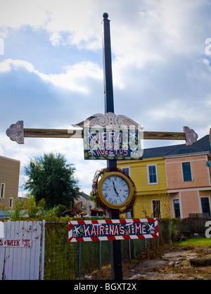 Katrina Memorial sign seen on Magazine Street in Garden District of New Orleans, Louisiana - Stock Photo