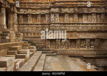 Carvings and Idols on East side wall in 'Rani ki Vav'; Stepwell at Patan - Stock Photo