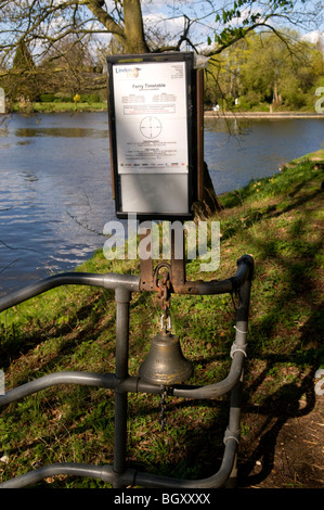 Shepperton Lock Ferry timetable on river Thames in Weybridge, Surrey - Stock Photo