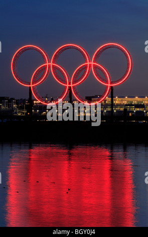 Vancouver 2010 Winter Olympic rings at night-Vancouver, British Columbia, Canada. - Stock Photo