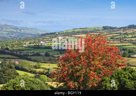 Looking across Glencorp from Glenaan and the site of Ossian's Grave, County Antrim, Northern Ireland - Stock Photo