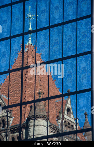 Trinity Church reflected in the John Hancock Tower, Boston, Massachusetts, USA - Stock Photo