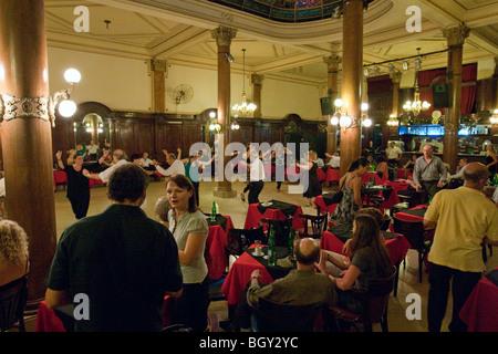Cacarera, in historic Confiteria Ideal Tango dance hall, Buenos Aires, Argentina - Stock Photo