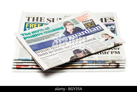 Pile of UK Newspapers - Stock Photo