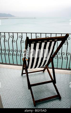 Balcony on the seaview of Vietri sul Mare, Costiera Amalfitana, Salerno, Campania, Italy - Stock Photo