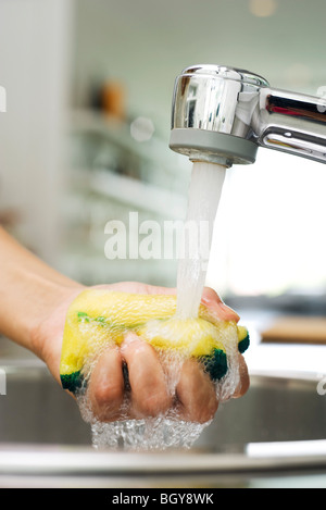 Person rinsing sponge under kitchen faucet - Stock Photo