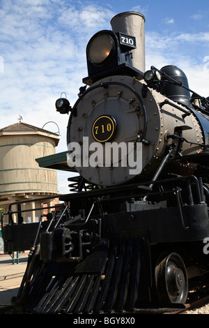 Chicago Burlington & Quincy locomotive #710, at Lincoln Station in the Haymarket District, Lincoln, Nebraska, USA - Stock Photo