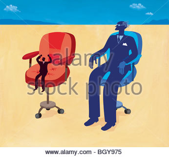Small and large businessmen sitting in chairs - Stock Photo