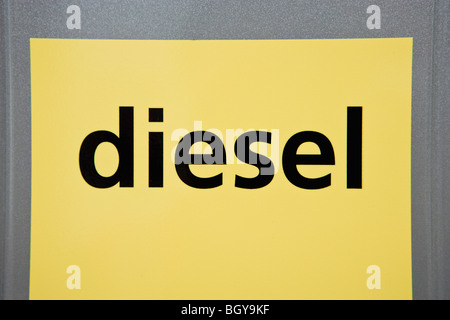 Diesel label on gas pump - Stock Photo