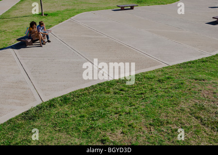 Young couple sitting on park bench, high angle view