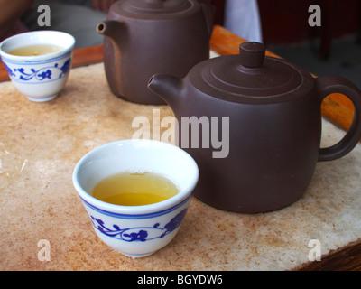 Chinese Green Tea in the Huxinting Tea House, Shanghai - Stock Photo