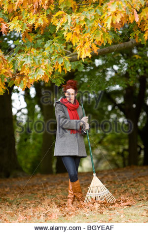 A young woman standing with a rake in autumn time - Stock Photo