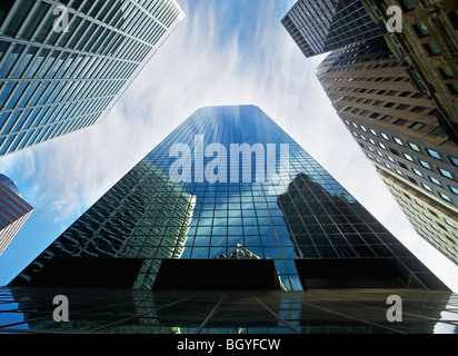 View from below skyscrapers - Stock Photo