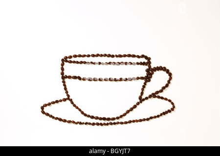 Coffee Beans in Cup Shape - Stock Photo