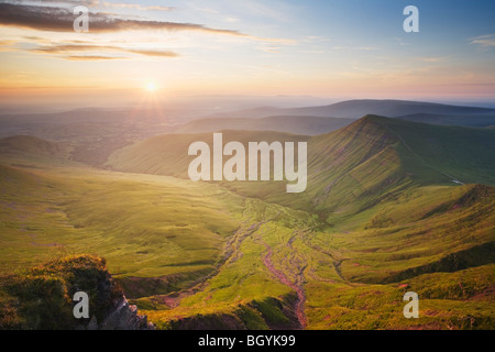 View from Pen y Fan towards Cribyn on a Summer morning. Brecon Beacons National Park. Powys. Wales. UK. - Stock Photo