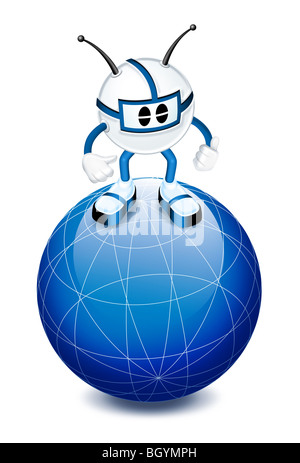 3d character on top of globe - Stock Photo