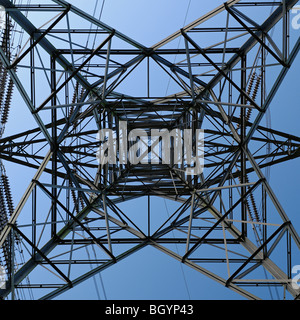 Electricity Pylon Low Angle View From Below - Stock Photo