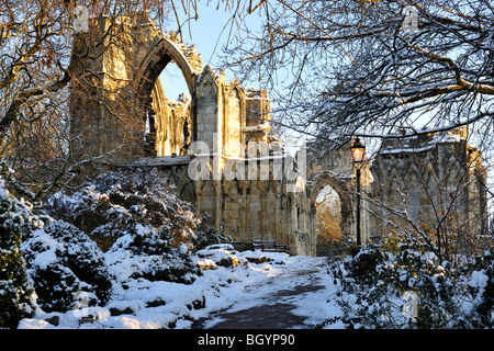 Winter light on the West End of St Mary's Abbey, Museum Gardens, York, England - Stock Photo
