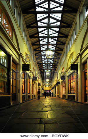 View of the Victorian Architecture inside Covent Garden Market, London - Stock Photo