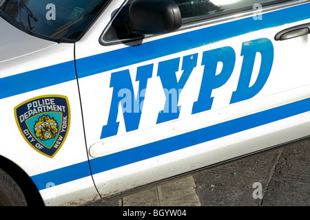 A NYPD car is parked in front of the Time Warner Center in New York city - Stock Photo