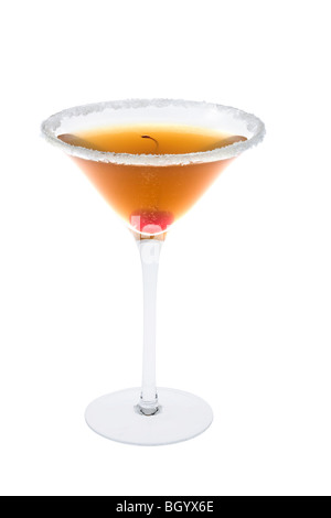 Amaretto Sour mixed drink with sugared rim and cherry on white background - Stock Photo