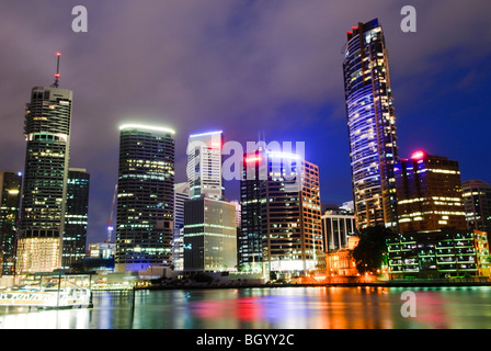Brisbane's Story Bridge at night - Stock Photo