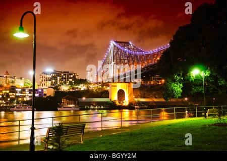 BRISBANE, Australia - Brisbane's Story Bridge at night - Stock Photo