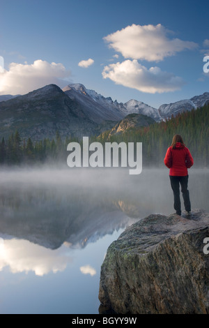 A hiker at Bear Lake, Rocky Mountain National Park, Colorado. (model released) - Stock Photo