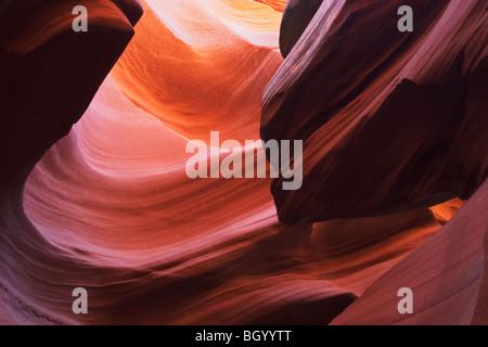 Sandstone patterns in Lower Antelope Slot Canyon, Page, Arizona. - Stock Photo