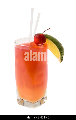 Seabreeze mixed drink with lime and cherry garnish on white background - Stock Photo